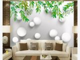 Japanese Style Wall Murals Customized 3d Wallpaper Murals Wall Paper American Pastoral Hand Painted Green Leaf Ball White Ball 3d Bedroom Tv Background Wall Colorful
