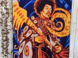 Jimi Hendrix Wall Mural Jimi Hendrix Art Psychedelic Tapestry Quilted Wall Decor Woodstock Memorabilia Rock and Roll Quilt for Sale Cotton Print Gift for Him Her