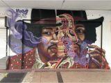 "Jimi Hendrix Wall Mural Nychos ""purple Haze"" Portrait Of Jimi Hendrix Miami Fl"