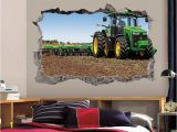 John Deere Wall Mural Tractor Wall Decal 3d Art Stickers John Deere Farm Tractor