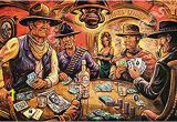 John Wayne Wall Mural Hotel Leone Print From Art by Dano Featuring John Wayne Lee Marvin and the Man with No Name Playing