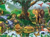 Jungle Adventure Wall Mural Nature S Harmony Jungle Animals Wallpaper Mural