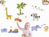 Jungle Adventure Wall Mural Treepenguin Kids Jungle Animals Wall Decals Cute Safari theme Wall Stickers for Baby toddler Boys & Girls Rooms Peel and Stick Bedroom and Nursery