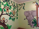 Jungle Animals Wall Mural Monkeys Elephant Kids Jungle themed Room Wall Murals