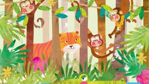 Jungle Animals Wall Mural Monkeys In 2019 Cartoon Animals Wall Murals