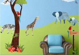 Jungle Mural for Nursery 45 Large Jungle themed Fabric Wall Stickers Make A Jungle Safari