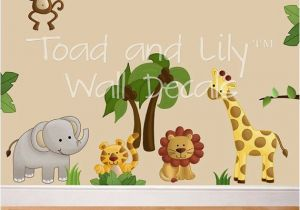 Jungle Mural for Nursery Fabric Wall Decals Jungle Animal Safari Girls Boys Bedroom Playroom
