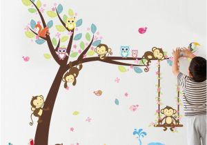 Jungle Mural for Nursery forest Animals Tree Wall Stickers for Kids Room Monkey Bear Jungle