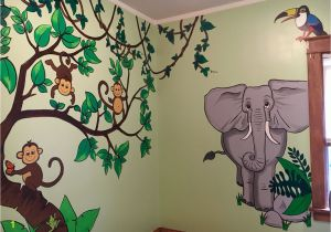 Jungle Mural for Nursery Monkeys Elephant Kids Jungle themed Room Wall Murals Painting
