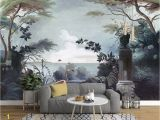 Jungle Mural Wall Hanging Dark forest and Seascape with Pelican Birds Wallpaper Mural