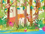 Jungle Mural Wall Hanging Monkeys In 2019 Cartoon Animals Wall Murals