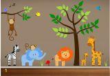 Jungle Safari Wall Mural Jungle Wall Decals Tree Zebra Elephant Monkey by