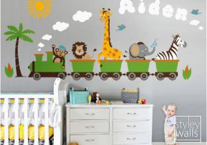 Jungle Safari Wall Mural Personalized Jungle Safari Animals Train Wall Decal Set Monkey Zebra