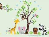 Jungle Safari Wall Murals Baby Nursery Wall Decals Jungle Safari Tree & Animals Repositionable