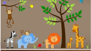 Jungle themed Nursery Wall Murals Jungle Wall Decals Tree Zebra Elephant Monkey by