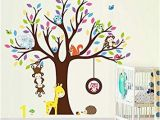 Jungle Wall Mural for Nursery Amazon Elecmotive Cartoon forest Animal Monkey Owls Fox Rabbits