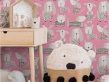 Kelly Hoppen Wall Mural Kids Wallpaper Dog Ic Pink White Metallic 2