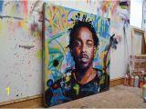 "Kendrick Lamar Wall Mural Kendrick Lamar King Kunta Background original Painting 40"" 52"" Art Street Music Rap Portrait Abstract Graffiti Richard Day"