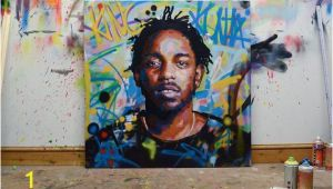 "Kendrick Lamar Wall Mural Kendrick Lamar King Kunta Background original Painting 40"" 52"" Art Street Music Rap Portrait Abstract Graffiti Richard Day"