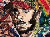 Kendrick Lamar Wall Mural Lamar Rapper Rap Legend Od Lyrics Album songs Damn Hophop Music Fan Art Drawing Painting Colourful Colorful Shirt Print Poster