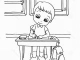 Kids Doing Chores Coloring Pages Stock Illustration Kids Do Homework Class Cartoon Coloring Page