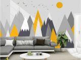 Kids Mountain Wall Mural Simple Triangle Geometric Mountains Wallpaper Modern