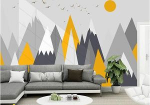 Kids Mountain Wall Mural Simple Triangle Geometric Mountains Wallpaper Modern