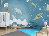 Kids Room Wall Mural Ideas Non Woven Wallpaper No Mw16 Colorful Space Bustle Mural