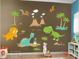 Kids Wall Mural Decals Children Wall Decals Dino Land Dinosaurs Wall Decal Wall