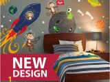 Kids Wall Mural Decals Space Wall Decal Rocket Ship Alien Planet Monkey astro