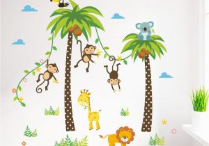 Kids Wall Murals Australia Cartoon Monkey Swing the Coconut Tree Wall Stickers for Kids