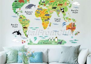 Kids Wall Murals Australia Colorful Animal World Map Wall Sticker Vinyl Decal Nursery Kids Room