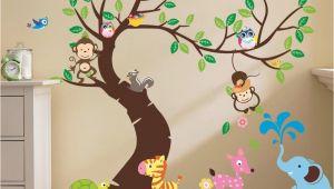 Kids Wall Murals Australia Oversize Jungle Animals Tree Monkey Owl Removable Wall Decal