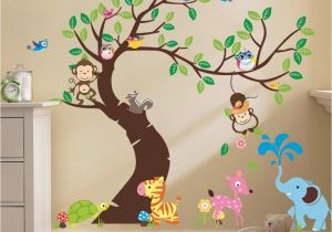Kids Wall Murals Australia Oversize Jungle Animals Tree Monkey Owl Removable Wall Decal