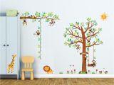 Kids Wall Murals Uk 8 Little Monkeys Tree & Height Chart Wall Stickers