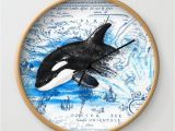 Killer Whale Wall Murals Breaching Baby orca Watercolor Blue Vintage Map Wall Clock
