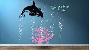 Killer Whale Wall Murals orca Decal Killer Whale Wall Decal Ocean Wall Art orca Wall Decal Bubble Wall Decal Nautical theme Ocean Underwater Wall Boys Room Decal