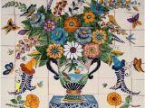 """Kitchen Wall Tile Murals Tile Mural """"flowers & butterflies"""""""