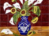 """Kitchen Wall Tile Murals Tile Mural """"sunflowers and Calla Lilies"""""""