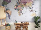 Komar Brick Wall Mural Komar Colorful World Map Wall Mural Wallpaper 4 050