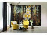 Komar Serafina Wall Mural Abstract Yellow Flowers Wallpaper Big Flowers Floral Wall