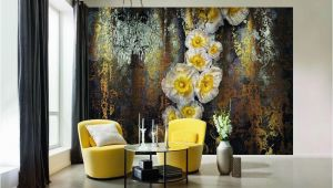Komar Serafina Wall Mural Abstract Yellow Flowers Wallpaper Big Flowers Floral Wall