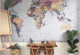 Komar Whitewashed Wood Wall Mural Komar Colorful World Map Wall Mural Wallpaper 4 050