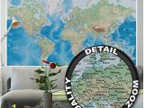 Komar World Map Wall Mural Mural – World Map – Wall Picture Decoration Miller Projection In Plastically Relief Design Earth atlas Globe Wallposter Poster Decor 82 7 X 55