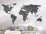 Komar World Map Wall Mural World Map Wall Decal Countries United States Map Canada Province Wall Art Chalkboard Black White Board Border Boundary Usa K430