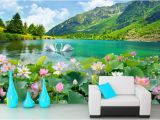 Lake In the Woods Wall Mural Custom 3 D Wall Paper Swan Lake Scenery Living Room Wall Murals Tv sofa Tv Backdrop Wallpaper 3d Stereoscopic Hollywood Wallpapers Home Wallpaper From