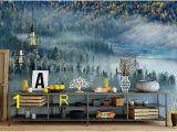 Lake In the Woods Wall Mural Doe Het Zelf Behang Gereedschap Access Green Shades