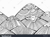 Landscape Coloring Pages for Adults to Print Printable Coloring Page Adults Mountain Landscape Stock Vektorgrafik