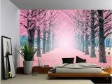 Landscape Wall Murals Wallpaper Foggy Pink Tree Path Wall Mural Self Adhesive Vinyl Wallpaper Peel & Stick Fabric Wall Decal