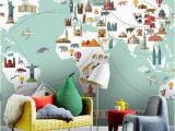 Large Adhesive Wall Murals Wallpaper World Travel Map Peel and Stick Wall Mural